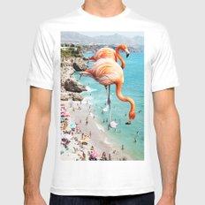 Flamingos on the Beach #society6 #decor #buyart White Mens Fitted Tee MEDIUM