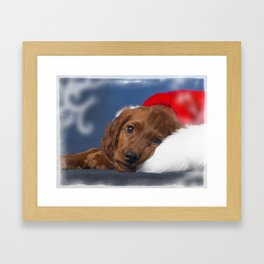 Christmas Puppy Framed Art Print