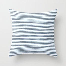 Baesic Horizontal Lines (Denim) Throw Pillow