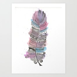 Purple and Blue Zen Feather Art Print
