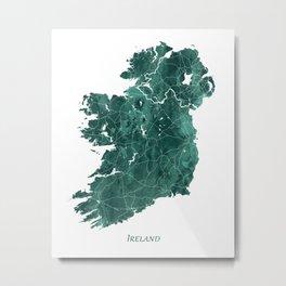 Ireland Watercolor Map Art by Zouzounio Art Metal Print