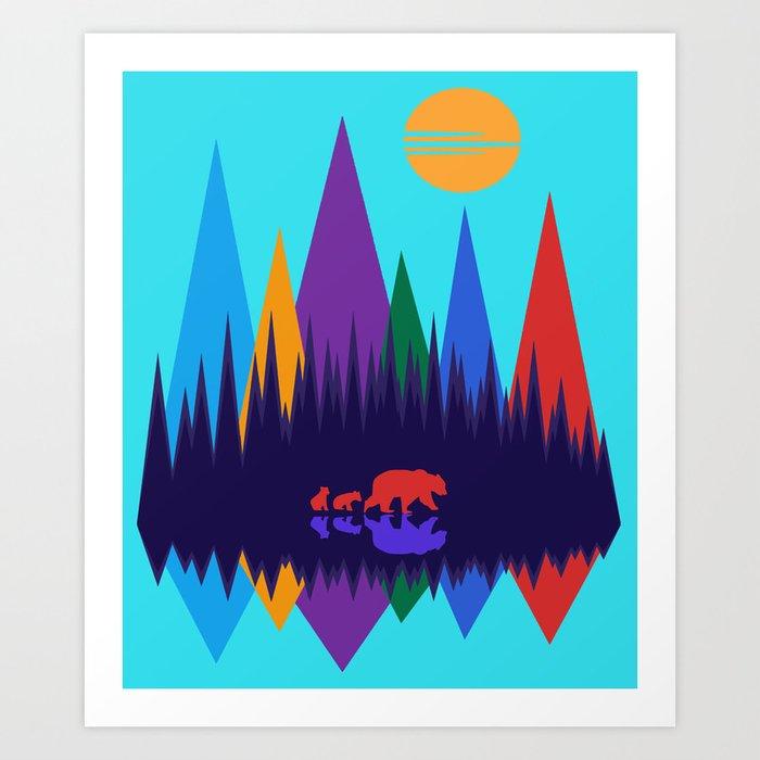 Bear & Cubs #3 Art Print