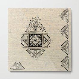 Indian Tribal Folk Art 2 Metal Print
