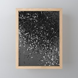Dark Gray Black Lady Glitter #1 #shiny #decor #art #society6 Framed Mini Art Print