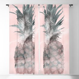 Pink Tropical Beachy Pineapple Blackout Curtain
