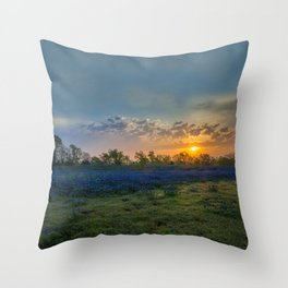 Daybreak In The Land Of Bluebonnets Throw Pillow