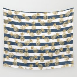 Modern nautical navy blue stripes faux gold pineapple Wall Tapestry