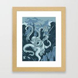 King Neptune Vs. The Sea Monster Framed Art Print