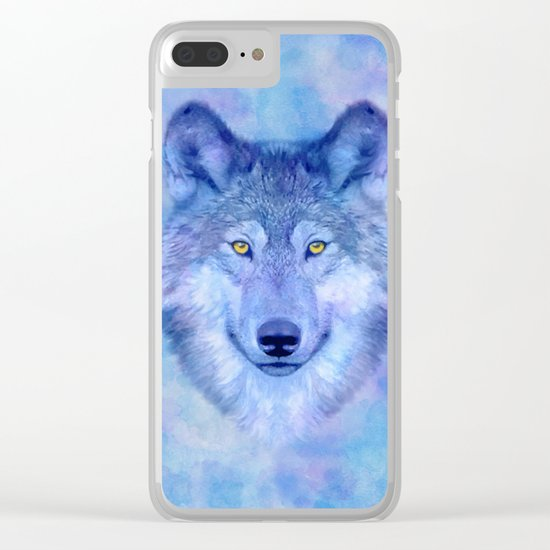 Sky blue wolf with Golden eyes Clear iPhone Case