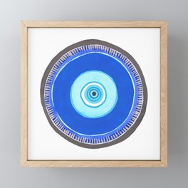 Blue and Silver Evil Eye Mandala Framed Mini Art Print