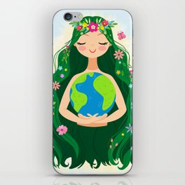 Beautiful Flowing Flower Earth Mother Figure iPhone Skin