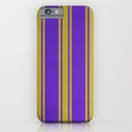 Yellow lines on a purple background. iPhone Case