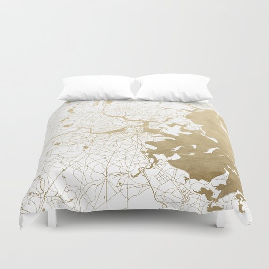 Boston White And Gold Map Duvet Cover By Mapmaker Society6