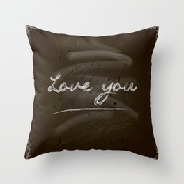 Happy Valentine's Day Design. Blackboard Background with Hand Lettering. Vector.I love you Throw Pillow