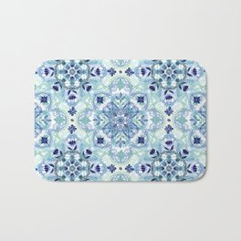 Navy Blue, Green & Cream Detailed Lace Doodle Pattern Bath Mat