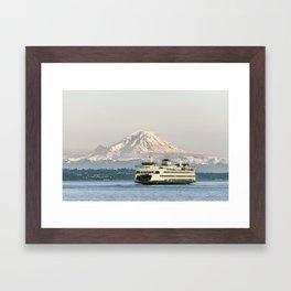 Seattle Bainbridge Island Ferry with Mount Rainier Framed Art Print