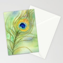 Abstract Peacock Feather Watercolor Stationery Cards