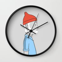 steve zissou Wall Clocks featuring Steve Zissou by Antoine Dutilh