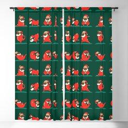 Santa Pug Yoga Blackout Curtain