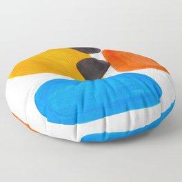 Abstract Mid Century Modern Colorful Minimal Pop Art Yellow Orange Blue Bubbles Ovals Floor Pillow