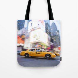 Yellow taxi cab in times square Tote Bag