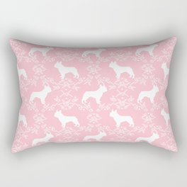 French Bulldog floral minimal pink and white pet silhouette frenchie pattern Rectangular Pillow