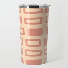 Mid Century Modern Abstract Squares Pattern 542 Peach and Beige Travel Mug