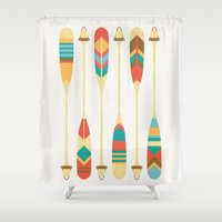 rowing Shower Curtains featuring Summer Lake by Picomodi