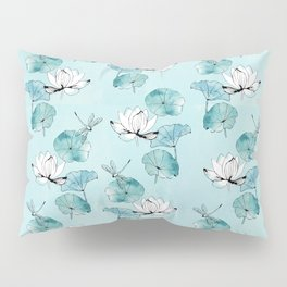 Waterlily dragonfly in green Pillow Sham
