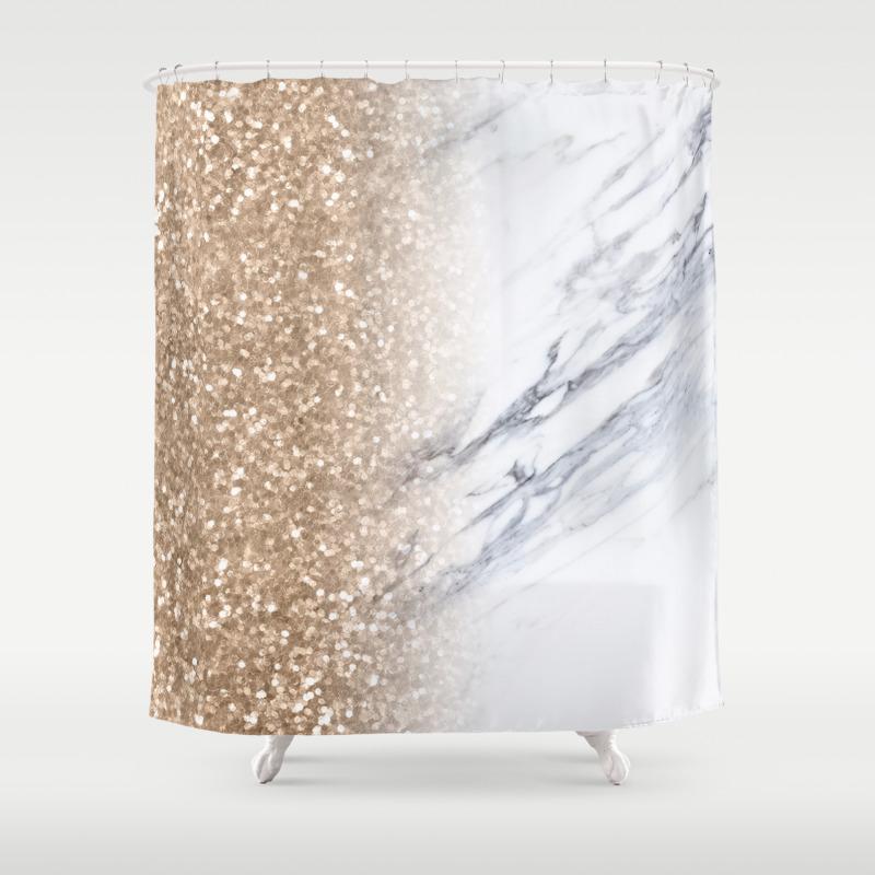 Bronze Copper Gold Sparkles White Gray Marble Concrete Luxury Iv Shower Curtain