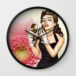 Retro Pinup Girl Compact Lipstick & Pink Flower Wall Clock