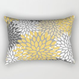Modern Elegant Chic Floral Pattern, Soft Yellow, Gray, White Rectangular Pillow