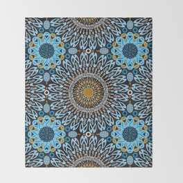 Calligraphic Boho (Blue) Throw Blanket