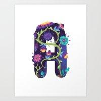 Wonderland Typeface letter A Art Print