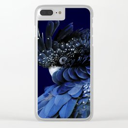Australian Red-Tailed Black Cockatoo in Blue Clear iPhone Case
