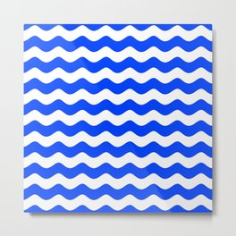 Wave Texture (Blue & White) Metal Print
