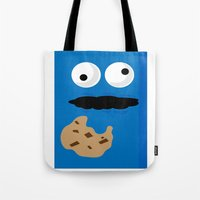 cookie monster Tote Bags featuring Cookie Monster by Callum McGoldrick