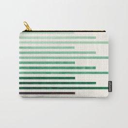 Deep Green Aquamarine Minimalist Mid-century Modern Stripe Pattern Art Staggered Stripes Carry-All Pouch