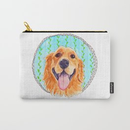 You're Never Fully Dressed without a Smile, Golden Retriever, Whimsical Watercolor Painting, White Carry-All Pouch