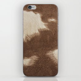 Cowhide Brown and White iPhone Skin