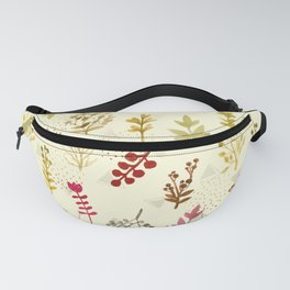 Pattern plants and triangles Fanny Pack
