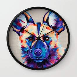 Painted Hunting Dog / African wild dog Wall Clock