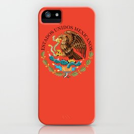 Close up of the Seal from the flag of Mexico on Adobe red background iPhone Case