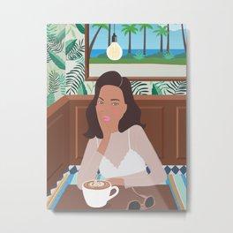3 o'clock in the cafe, illustration, girly, hawaii, aloha, art Metal Print
