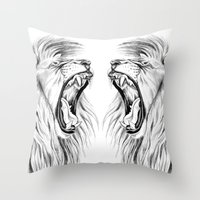 lions Throw Pillows featuring Lions by Libby Watkins Illustration