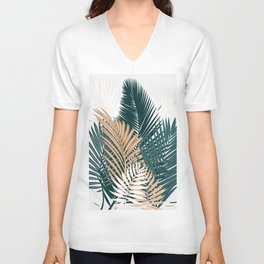 Gold and Green Palm Leaves Unisex V-Neck