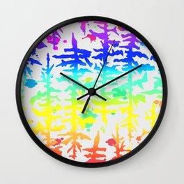 Rainbow Trees Wall Clock