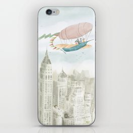 Dirigible over NY city iPhone Skin