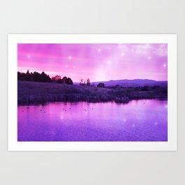 Purple Duck Sunset Art Print