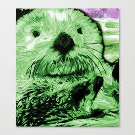 Green Sea Otter Canvas Print